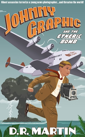 Cover for Johnny Graphic and the Etheric Bomb, a fantasy novel for readers 9-12