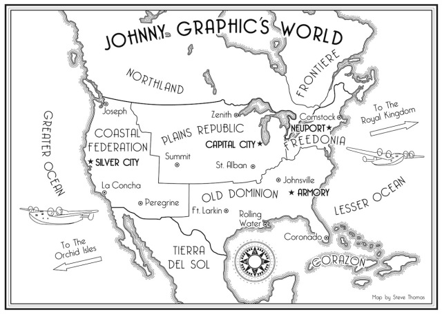 Map of the alternative world from Johnny Graphic and the Etheric Bomb